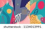 creative doodle art header with ... | Shutterstock .eps vector #1134013991