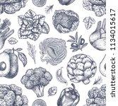 vegetables seamless pattern.... | Shutterstock .eps vector #1134015617