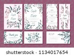 wedding card templates set with ... | Shutterstock .eps vector #1134017654