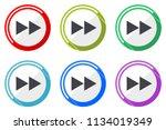 rewind web vector icons  set of ... | Shutterstock .eps vector #1134019349