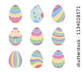 set of nine easter eggs | Shutterstock .eps vector #1134028571