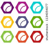tennis ball icons 9 set coloful ...   Shutterstock .eps vector #1134054077