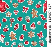 christmas seamless vector... | Shutterstock .eps vector #1134074627