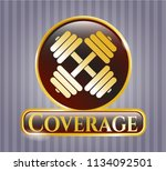 gold badge with dumbbell icon... | Shutterstock .eps vector #1134092501