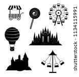 vector outline  amusment park... | Shutterstock .eps vector #1134115991