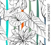 tropical  modern stripes motif. ... | Shutterstock .eps vector #1134119507