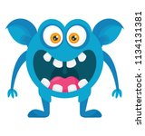 an opem mouth angry monster in ... | Shutterstock .eps vector #1134131381