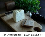 white cheese and bread on the... | Shutterstock . vector #1134131654