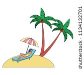 woman on deck chair umbrella...   Shutterstock .eps vector #1134132701