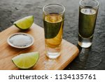 tequila shot  mexican drinks... | Shutterstock . vector #1134135761