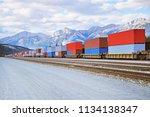 freight comtainer train in... | Shutterstock . vector #1134138347