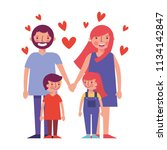happy family with hearts...   Shutterstock .eps vector #1134142847