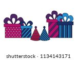 gifts boxes present with hat... | Shutterstock .eps vector #1134143171