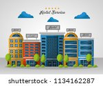 hotel building taxi and suitcase | Shutterstock .eps vector #1134162287