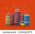 accommodation building luxury... | Shutterstock .eps vector #1134162575