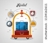 hotel building taxi and suitcase | Shutterstock .eps vector #1134162611