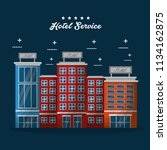 hotel building taxi and suitcase | Shutterstock .eps vector #1134162875