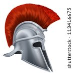 Illustration of a bronze Trojan Helmet, Spartan helmet, Roman helmet or Greek helmet. Corinthian style.
