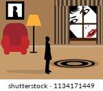 a woman's face fills the frame...   Shutterstock .eps vector #1134171449