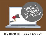 text sign showing decide commit ... | Shutterstock . vector #1134173729