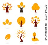 Autumn Trees Icons Isolated On...
