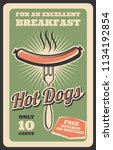 hot dog retro poster for fast... | Shutterstock .eps vector #1134192854