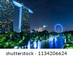 singapore cityscape at dusk.... | Shutterstock . vector #1134206624