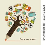 pencil tree shaped made with... | Shutterstock .eps vector #113421325