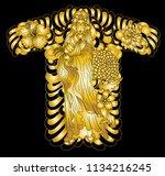 gold guan yin god of chinese... | Shutterstock .eps vector #1134216245