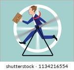 stressed businessman running in ... | Shutterstock .eps vector #1134216554