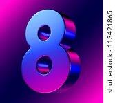 number 8 from blue magenta... | Shutterstock . vector #113421865