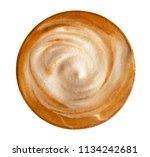 top view of hot coffee latte... | Shutterstock . vector #1134242681
