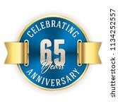 blue celebrating 65 years ... | Shutterstock .eps vector #1134252557