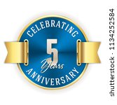 blue celebrating 5 years ... | Shutterstock .eps vector #1134252584