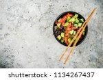 asian trendy food  sushi poke... | Shutterstock . vector #1134267437