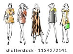 sketch. fashion girls on a... | Shutterstock .eps vector #1134272141