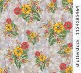 beautiful watercolor  flower... | Shutterstock . vector #1134285464