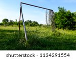 lonely goal in neglected and... | Shutterstock . vector #1134291554