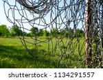 lonely goal in neglected and... | Shutterstock . vector #1134291557