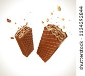 crispy chocolate covered wafer... | Shutterstock . vector #1134292844