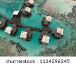 arial view overwater bungalows   Shutterstock . vector #1134296345