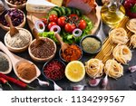 composition with assorted... | Shutterstock . vector #1134299567