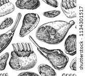 raw meat seamless pattern.... | Shutterstock .eps vector #1134301517