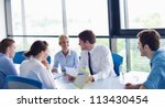 group of happy young  business... | Shutterstock . vector #113430454