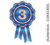 gold 3rd place rosette  badge... | Shutterstock .eps vector #1134313031