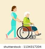 nurse strolling with elder grey ... | Shutterstock .eps vector #1134317204