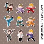 cartoon chinese kung fu stickers | Shutterstock .eps vector #113432095
