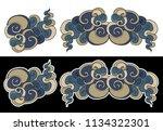 japanese cloud tattoo.hand... | Shutterstock .eps vector #1134322301