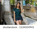 beautiful girl in fashion... | Shutterstock . vector #1134324941
