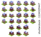 dark red isometric buildings... | Shutterstock .eps vector #1134329447